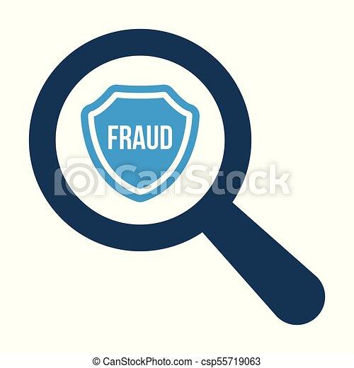 Ampliando vidrio óptico con icono de Shield y palabra de fraude sobre fondo blanco - csp55719063