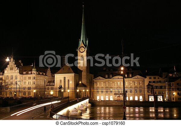 Fraumuenster and Limmat river in Zurich night - csp1079160