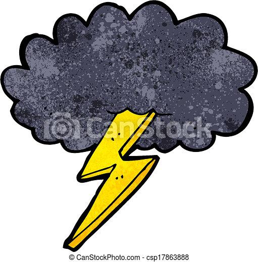 freccia lampo, nuvola, cartone animato - csp17863888