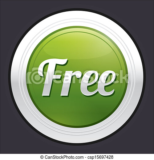 Free button. Green round sticker. - csp15697428
