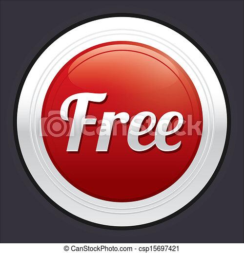 Free button. Red round sticker. - csp15697421