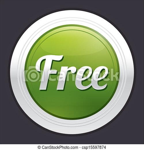 Free button. Vector green round sticker. - csp15597874