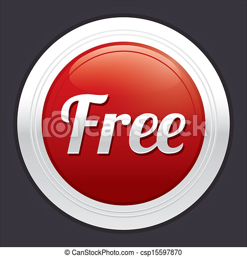 Free button. Vector red round sticker. - csp15597870