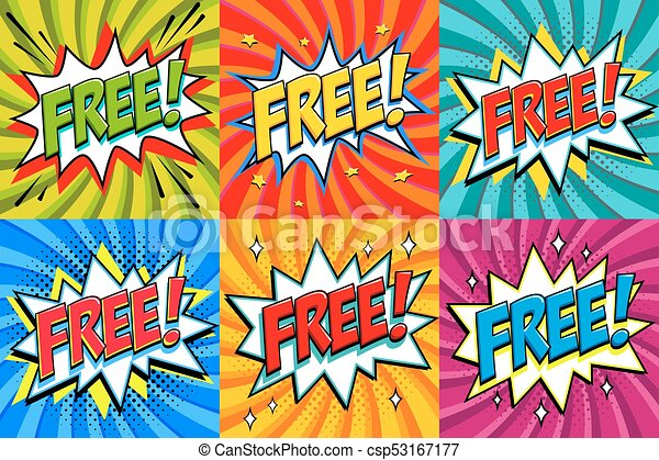 free comic book style stickers free banners in pop art comic