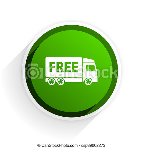 free delivery flat icon with shadow on white background, green modern design web element - csp39002273