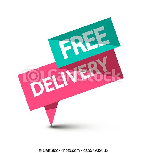 Free Delivery Label. Vector Paper Icon Isolated on White Background. - csp57932032