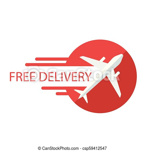 Free Delivery Plane Icon Red Background Vector Image