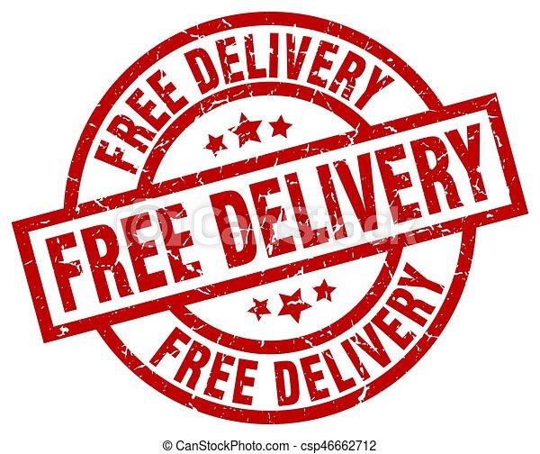 free delivery round red grunge stamp - csp46662712