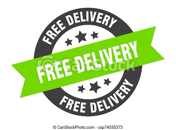 free delivery sign. free delivery black-green round ribbon sticker - csp74035373