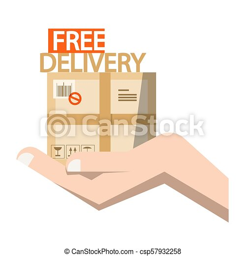 Free Delivery Symbol - Parcel in Hand - csp57932258