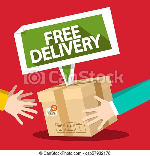 Free Delivery Symbol with Parcel and Hands. Vector Flat Design Illustration. - csp57932178