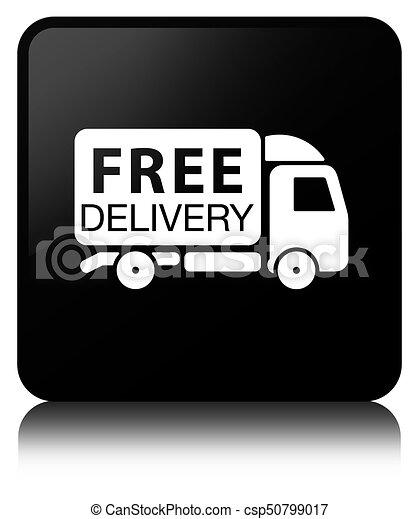 Free delivery truck icon black square button - csp50799017