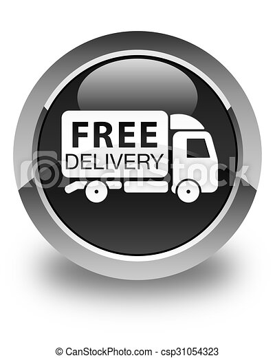 Free delivery truck icon glossy black round button - csp31054323