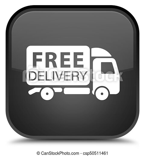 Free delivery truck icon special black square button - csp50511461