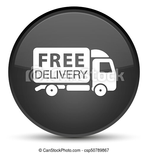 Free delivery truck icon special black round button - csp50789867