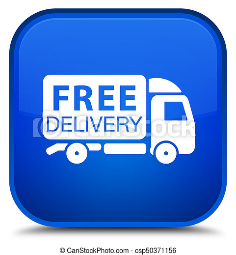 Free delivery truck icon special blue square button - csp50371156