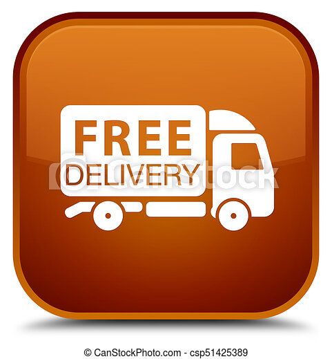 Free delivery truck icon special brown square button - csp51425389