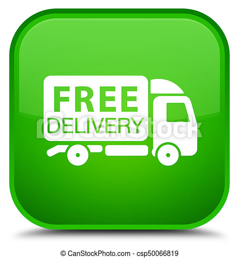 Free delivery truck icon special green square button - csp50066819