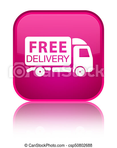 Free delivery truck icon special pink square button - csp50802688