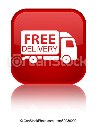 Free delivery truck icon special red square button - csp50080290