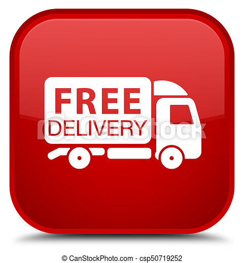 Free delivery truck icon special red square button - csp50719252