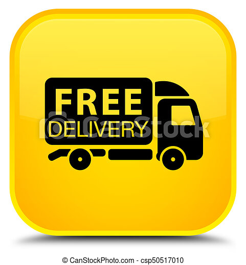 Free delivery truck icon special yellow square button - csp50517010