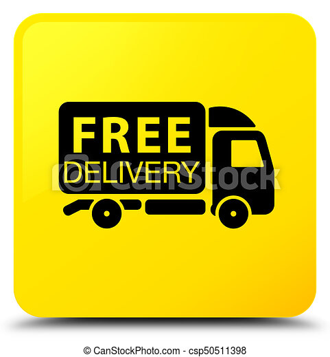 Free delivery truck icon yellow square button - csp50511398