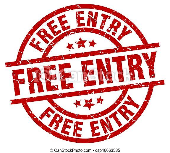 free entry round red grunge stamp - csp46663535