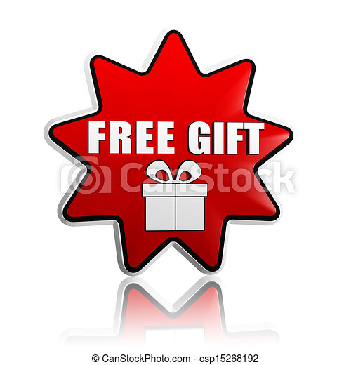 Free Gift With Present Box Symbol In Red Star Banner Free Gift And
