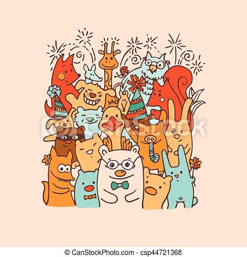 Free hand drawing of group of joyful animal friends - csp44721368