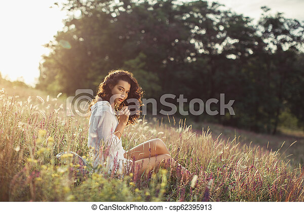 Free Happy Woman Enjoying Nature Beauty Girl Outdoor Freedom Concept Beautiful Young Woman Sitting On The Field Around