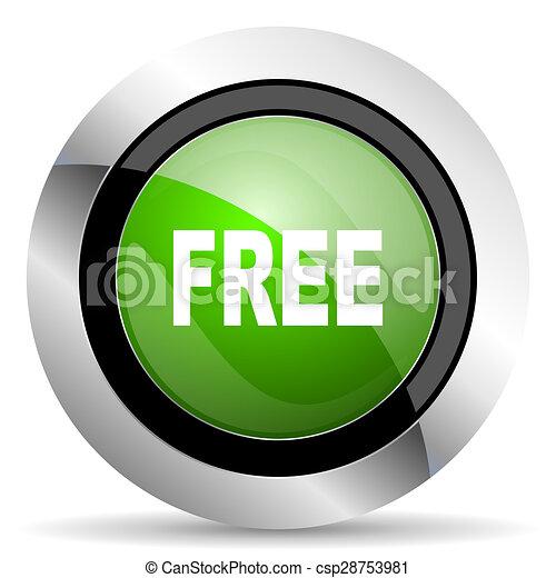 free icon, green button - csp28753981