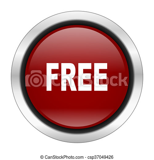 free icon, red round button isolated on white background, web design illustration - csp37049426