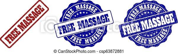 FREE MASSAGE Grunge Stamp Seals - csp63872881