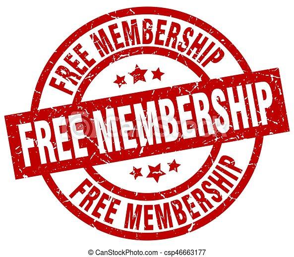 free membership round red grunge stamp - csp46663177