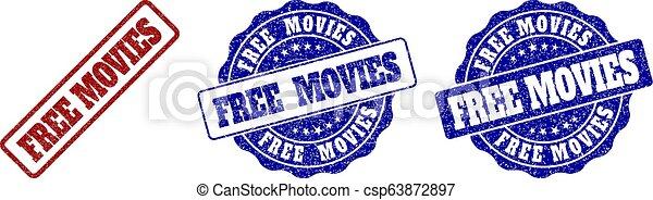 FREE MOVIES Grunge Stamp Seals - csp63872897