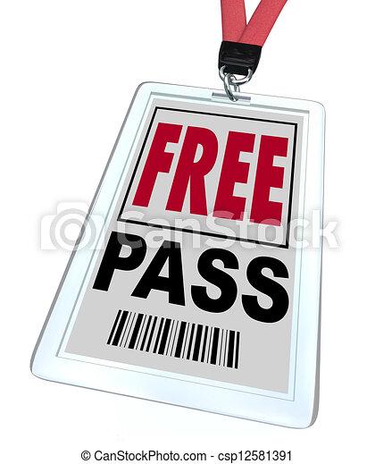 Free Pass - Lanyard and Badge - csp12581391