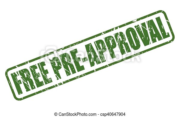 Free pre-approval green stamp text on white.
