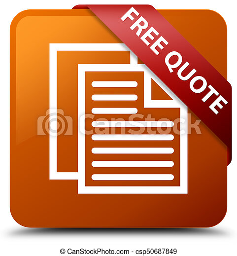 Free quote brown square button red ribbon in corner - csp50687849
