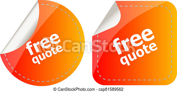 Free quote glossy button set isolated on white - csp81589562