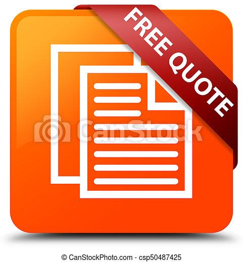 Free quote orange square button red ribbon in corner - csp50487425