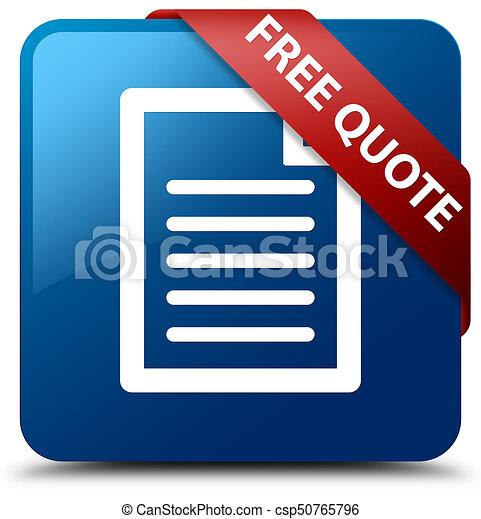 Free quote (page icon) blue square button red ribbon in corner - csp50765796