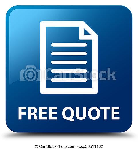 Free quote (page icon) blue square button - csp50511162