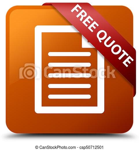 Free quote (page icon) brown square button red ribbon in corner - csp50712501