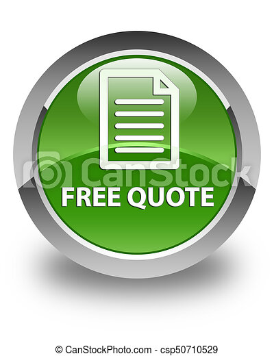 Free quote (page icon) glossy soft green round button - csp50710529