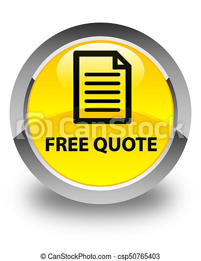 Free quote (page icon) glossy yellow round button - csp50765403