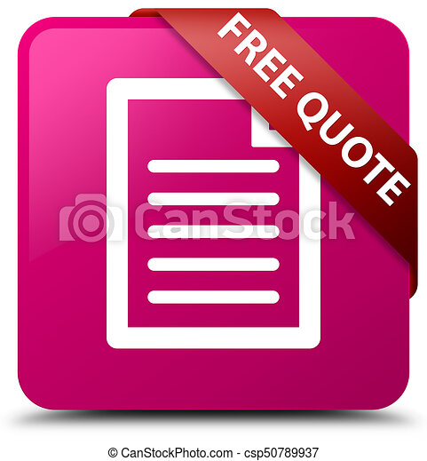 Free quote (page icon) pink square button red ribbon in corner - csp50789937