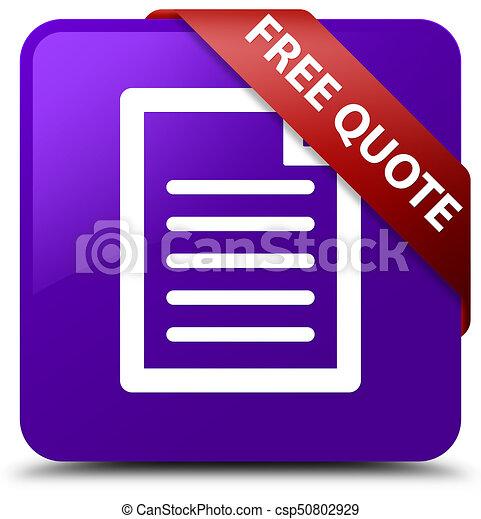 Free quote (page icon) purple square button red ribbon in corner - csp50802929