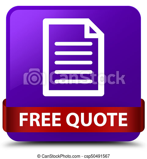 Free quote (page icon) purple square button red ribbon in middle - csp50491567