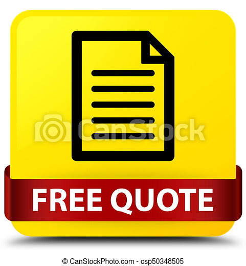 Free quote (page icon) yellow square button red ribbon in middle - csp50348505